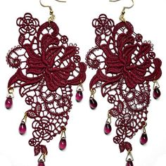 Burgundy Red Lace Appliqué Earrings with Glass Drops - JnE
