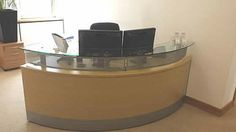 A quality light oak veneer reception desk with glass top shelf. Quick sale - hence price. Used Reception Desk, Reception Areas, Second Hand Desks, Used Office Furniture, Light Oak, Two Hands, Shelf, Glass, Top