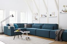 Bank Merlijn in petrol. WOOOD. Modulebank. Karwei. Sofa, Couch, Interior Decorating, Interior Design, Love Home, Living Room Colors, House Colors, Interior Architecture, My House