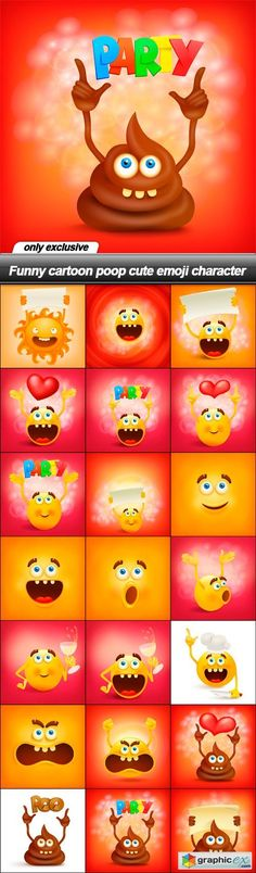 Funny cartoon poop cute emoji character - 21 EPS