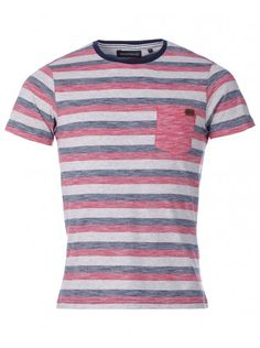 Industrialize Mens Red/Navy Crew Neck Jersey Donwan Stripe Tee T-shirt