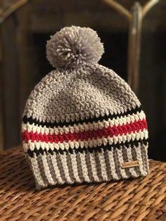 Crochet Girls, Crochet Baby Hats, Crochet Beanie, Hand Crochet, Knitted Hats, Knit Crochet, Crochet Mens Hat Pattern, Knit Patterns, Ohio State Hats