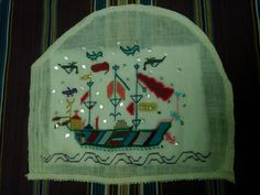 An Ottoman Ship on the over hundread years old handmade textile (i have just finished )