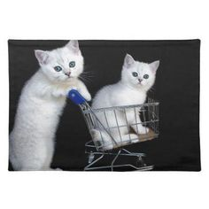 Two white kittens with shopping cart on black.JPG Cloth Placemat - cat cats kitten kitty pet love pussy