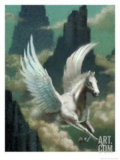 Pegasus Flying Through Clouds Print