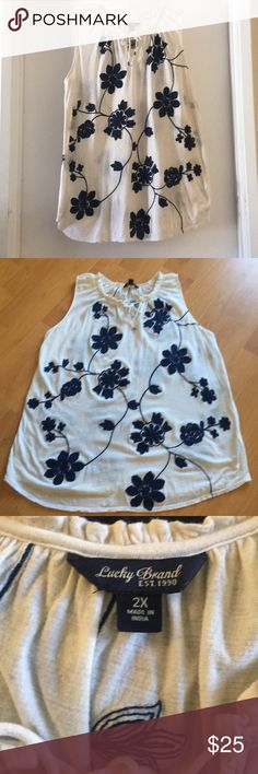 Lucky Brand Peasant Top Women's Lucky Brand  Cream with Navy Blue Embroidered Flower Designs  • 22 Inches from armpit to armpit • 31 Inches Shoulder to Hem• Gently Worn with no defects. Lucky Brand Tops