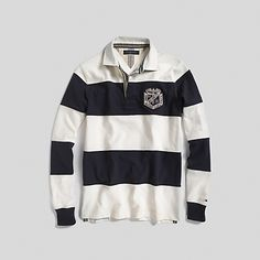 Tommy Hilfiger men's rugby. For a fresh twist on tradition, our classic rugby gets revamped in seriously soft sueded jersey. Mens Clothing Styles, Men's Clothing, Fashion Ideas, Kids Fashion, Fashion Design, Rugby Shirts, Ivy Style, Mens Gear, Style Men