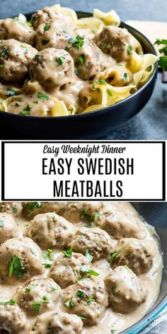 These Easy Swedish Meatballs are a traditional Swedish dish with flavorful homemade meatballs coated in a rich and creamy sauce. Classic comfort food served over noodles for a hearty dinner your family will love. Meat Recipes, Cooking Recipes, Meatloaf Recipes, Shrimp Recipes, Salmon Recipes, Crockpot Recipes, Vegetarian Recipes, Chicken Recipes, Recipies