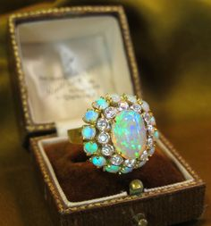 18K DIAMOND BLACK OPAL RING BOX VINTAGE FINE ANTIQUE COCKTAIL HUGE 7.05 CARATS!!