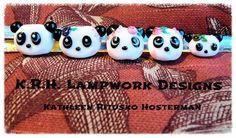 https://flic.kr/p/E2JXXM | Lampwork Panda Family | Panda Dad, Mom, Twins and Baby