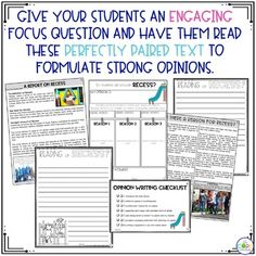 Writing On-Demand opinion essay lesson plans with editable graphic organizers. Topic- recess