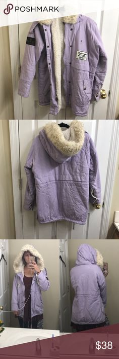 Romwe Lavender Furry Coat Lavender furry coat from Romwe. It is a size small, please refer to photos for measurements. In used condition; small black marking and the zipper does not zip up but the buttons still work and can keep the jacket closed. The zipper may be fixable but I don't have the desire to do so. The entire inside lining is a fluffy fake fur, including the sleeves. Very warm and soft. Offers only acknowledged through the offer button. ROMWE Jackets & Coats