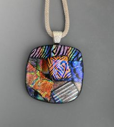 Square Dichroic Glass Necklace Dichroic Jewelry by GlassCat