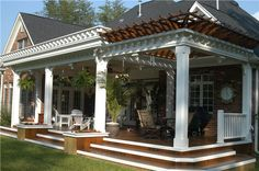 Custom covered deck construction by Paradise Decking of Summerfield, NC. Home Styles Exterior, Exterior Design, Outdoor Rooms, Outdoor Living, Outdoor Decor, Back Patio, Backyard Patio, Deck Makeover, Home Porch