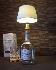 Amazing Dalwhinnie Winter us Gold Whisky Bottle Lamp With Blue