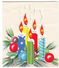 Vintage Candles with Colored Baubles Christmas Greeting Card | eBay