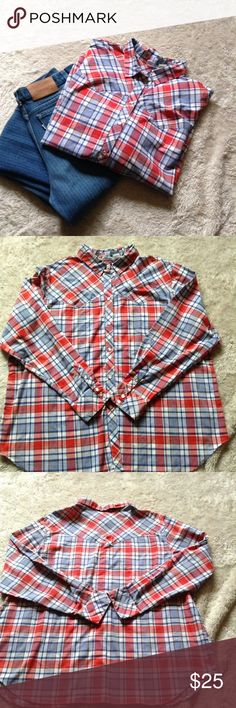 "Vintage Levi's Western Pearl snap Red white blue and some yellow plaid western button down by Levis. It has pearl snaps and is a ""white tag"" item. Perfect condition size looks to be about l-XL Levi's Shirts Casual Button Down Shirts"