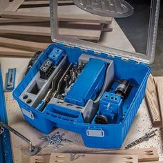 The all-new System Organizer is the perfect place to store and organize all of your Kreg Joinery™ system parts — your Kreg Jig®, Kreg® Clamps, Kreg® Screws, drill and driver bits, and more. A portion of the Organizer's tray can be removed for storage of other items such as the Kreg® Shelf Pin Jig, compact drills and drivers, and more. It's easy to keep track of everything stored in the System Organizer thanks to a transparent lid. A pair of heavy-duty clasps ensure that lid stays shut.