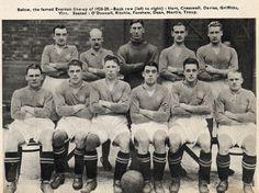 EVERTON FOOTBALL CLUB, temporada 1928/29 con Dixie Dean jugador emblemas del club.