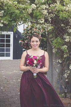 pretty bridesmaid in burgundy The Lodge Pauatahanui Wellington, New Zealand Photo by Von Photography