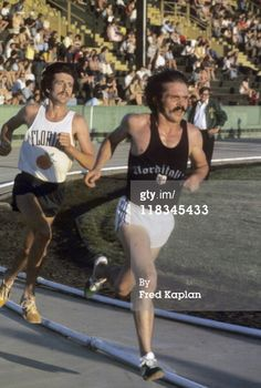 Pre's last race, Finnish Meet, May 25, 1975, Hayward Field leading Frank Shorter. Pre died hours later after leaving post race part at Geoff Holister's home.