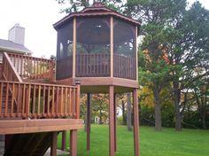 Beautiful Backyard Decking Ideas for our House: Wonderful Wooden Backyard Decking Ideas With The Screened Gazeboo ~ apcconcept.com Terrace and Garden Designs Inspiration