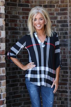 One Faith Boutique - You Look So Good In Plaid Tunic With Roll Tab Sleeves ~ Black ~ Sizes 4-10, $37.00 (https://www.onefaithboutique.com/new-arrivals/you-look-so-good-in-plaid-tunic-with-roll-tab-sleeves-black-sizes-4-10/)