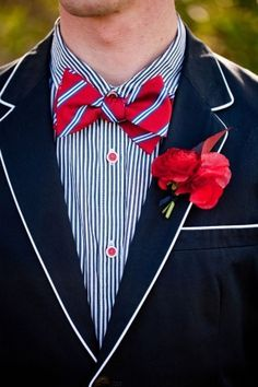 Red White and Blue Wedding Ideas - Navy-Suit-Red-Bow-Tie Red Bow Tie, Bow Ties, Preppy Style, My Style, Oui Oui, Groom And Groomsmen, Well Dressed Men, Red White Blue, Navy Blue