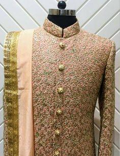 Order booking & Price details whatsapp:- 59586 Best of the cu… Sherwani Groom, Mens Sherwani, Wedding Sherwani, Kurta Men, Couple Wedding Dress, Groom Wedding Dress, Wedding Men, Wedding Suits, Indian Groom Dress