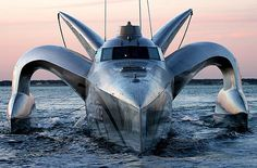 The record breaking high-tech 24 m power yacht EARTHRACE is currently being transformed into a black coated carbon reinforced stealth yacht to take on whalers and the Southern Ocean. Fast Boats, Speed Boats, Power Boats, Yacht Design, Boat Design, Design Tech, Save The Whales, Yacht Boat, Yacht Club