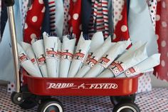 Red Wagon 1st Birthday Party Utensils