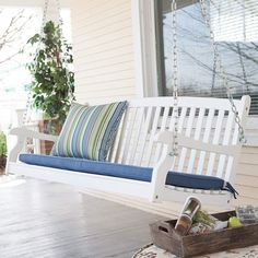 Patio Swing for Two Persons Wood Durable White Finish Coral Coast Pleasant Bay All Weather Curved Back Porch 4 Ft Outdoor Seating ** You can get additional details at the image link. (This is an affiliate link) Outdoor Patio Swing, Outdoor Seating, Outdoor Decor, Balcony Swing, Balcony Railing, Outdoor Gardens, Swing Painting, Affordable Outdoor Furniture, White Porch