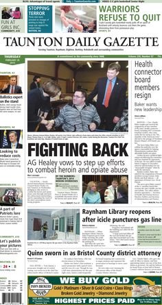 The front page of the Taunton Daily Gazette for Thursday, Feb. 26, 2015.