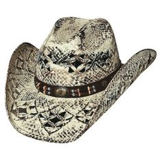 """From the Bullhide """"Run A Muck"""" collection: """"Girl Next Door."""" This  hat is made of Toyo Straw with 3 1/2"""" brim and a vented pinch front crown. This hat features a leather hat band with western concho and barrel beads."""