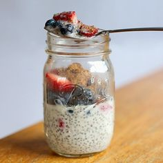 "Chia ""Pudding"". A really easy breakfast or snack! I let 1.5 TBSP of chia seeds, 1/2 cup (go a little under) of unsweetened vanilla almond milk, a drop of vanilla creme Stevia and a drizzle of vanilla extract sit in the fridge over night, stirring once before bed. In the morning, I topped it with 1 cup of strawberries, 1/2 cup of blueberries and a TBSP of blueberry flax seed. You can add in other fruits, yogurt, granola, nuts.... 