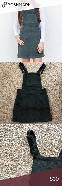 dbd8fa1521 Corduroy Overall Dress Forrest green corduroy overall dress. Made with  quality