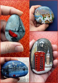 Купить путешествия - разноцветный, роспись по камню, сувениры ручной работы, подарок на любой случай, Париж