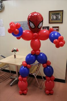 Lifesize Spiderman Modeltinks Faces and balloons Www with Spiderman Party Deco . Spiderman Balloon, Spiderman Theme Party, Superhero Balloons, Spiderman Birthday Cake, Avengers Birthday, Superhero Birthday Party, 4th Birthday Parties, 3rd Birthday, Balloon Decorations Party