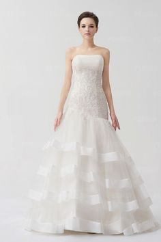 Delicate A-line Strapless Chapel Train Tiered Ivory Lace Wedding Dress  Applique Wedding Dress d98f305c6a9d