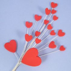 Red Handmade Icing Shooting Hearts Spray With Plastic Pick