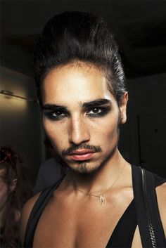 "femmeswithbeards: "" mcqueenlovesme: Willy Cartier - Jean Paul Gaultier Backstage "" *fights air* give him twenty years then give him to me, please. Male Makeup, Makeup Art, Fairy Makeup, Mermaid Makeup, Makeup Inspo, Makeup Inspiration, Drag King Makeup, Willy Cartier, Runway Makeup"