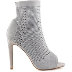 Cape Robbin Women's Orchid - Gray (205 BRL) ❤ liked on Polyvore featuring shoes, grey, heels stilettos, stretching synthetic shoes, open toe stilettos, high heel stilettos and gray high heel shoes