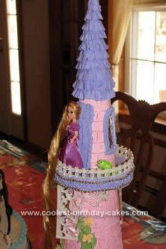Homemade Rapunzel Birthday Cake Design: My granddaughter, age 5, is obsessed with Rapunzel and asked me to make her tower on a cake.  I decided the easiest way to accomplish this Homemade Rapunzel