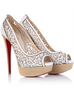 If only! White leather open-toe pumps- laser cut-out floral panel on nude tone mesh. Louboutin