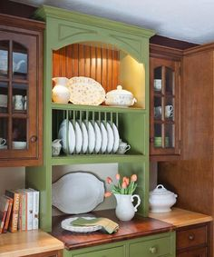 Crown Point Cabinetry Bayberry Green Milk Painted Hutch - Kitchen Cabinetry Products - Modenus Catalog
