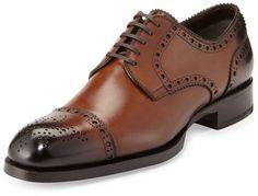 TOM FORD Edward Med-Cap Wing-Tip Derby Shoe, Brown