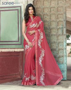 Having fabric chiffon. This attire is nicely designed with embroidery work, resham embroidery work, zari border, thread work, zari work and lace border work. Comes with matching blouse Wedding Sari, Indian Wedding Outfits, Indian Outfits, Designer Sarees Collection, Saree Collection, Indian Attire, Indian Ethnic Wear, Indian Style, Festival Wear