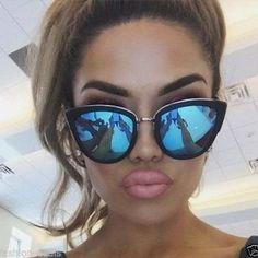 Cateye reflect sunglasses mirror Sunglasses Women Designer Celine Dior Oversized Chic Fashion India love Rihanna Inspired