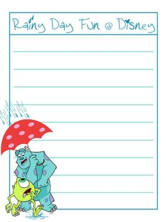 Rainy Day Fun @ Disney - Monsters Inc - Project Life Journal Card…