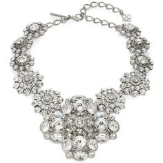 Oscar De La Renta Large  Floral Statement Necklace ($1,495) ❤ liked on Polyvore featuring jewelry, necklaces, crystal, sparkle jewelry, sparkly statement necklace, floral statement necklace, statement necklace and silver tone necklace